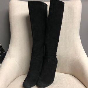 Nike Cole Haan Black Suede Wedge Knee High Boots